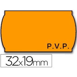 ETIQUETAS METO ONDULADAS 32 X 19 MM PVP FN. ADH 2 -FLUOR NARANJA -ROLLO 1000 ETIQUETAS