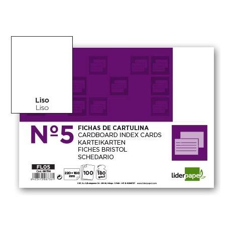 FICHA LIDERPAPEL LISA N.5 160X220MM PAQUETE DE 100 180G