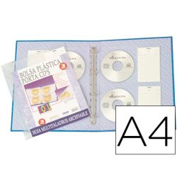 FUNDA MULTITALADRO BEAUTONE DIN A4 PARA ARCHIVO DE 4 CD PACK DE 3 FUNDAS