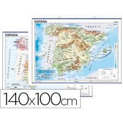 MAPA MURAL ESPA¾A FISICO/POLITICO -140 X 100 CM