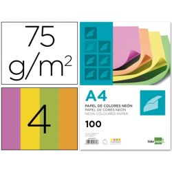 PAPEL COLOR LIDERPAPEL DIN-A4 75 GRAMOS NEON 4 COLORES SURTIDOS
