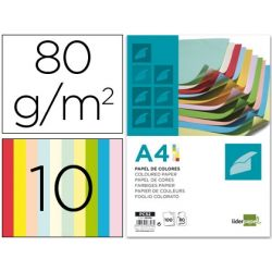 PAPEL COLOR LIDERPAPEL DIN-A4 80 GRAMOS 10 COLORES SURTIDOS