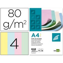 PAPEL COLOR LIDERPAPEL DIN-A4 80 GRAMOS 4 COLORES SURTIDOS