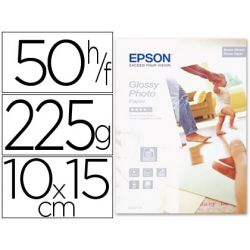 PAPEL EPSON GLOSSY PHOTO PAPER-10X15CM, 50 HOJAS- 225GR.