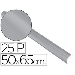 PAPEL METALIZADO PLATA ROLLO 25 HOJAS TREPADO 50X65 CM