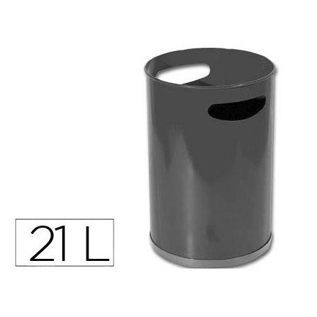 PAPELERA METALICA CON ASAS 101NEGRA -32X21 CM