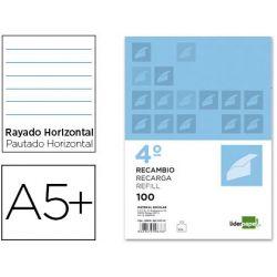 RECAMBIO LIDERPAPEL CUARTO 100 H 4TC-02 1 RAYA HORIZONTAL4 TALADROS CON MARGEN