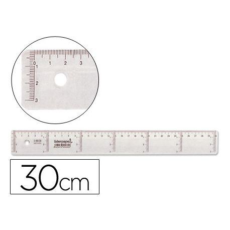 REGLA LIDERPAPEL 30 CM PLASTICO CRISTAL