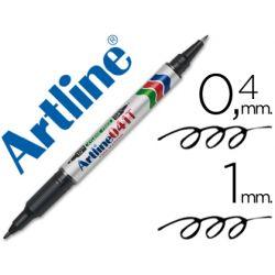ROTULADOR ARTLINE MARCADOR PERMANENTE EK-041T NEGRO -DOBLE PUNTA 0.4 Y 1.0 MM