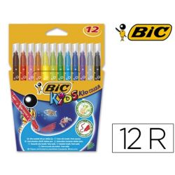 ROTULADOR BIC KID ESTUCHE DE 12 COLORES TINTA BASE AGUA ULTRA LAVABLE
