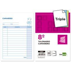 TALONARIO LIDERPAPEL CAMARERO 8. ORIGINAL Y 2 COPIAS T302