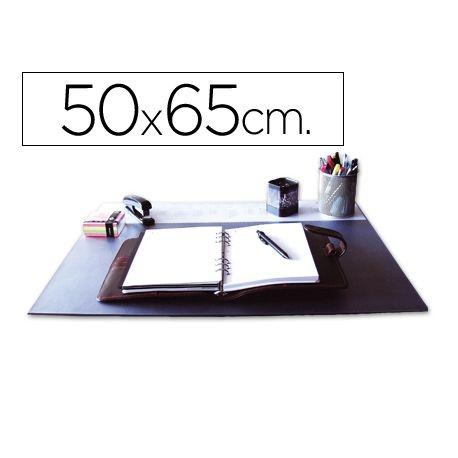 VADE SOBREMESA Q-CONNECT NEGROCON SOLAPAS TRANSPARENTES -50X65 CM