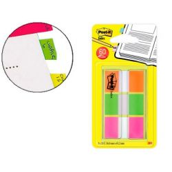 BANDERITAS SEPARADORAS POST-IT INDEX 680 NARANJA LIMA Y ROSA DISPENSADOR FUNDA 3X20