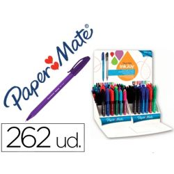 BOLIGRAFO PAPER MATE INKJOY 100 CAP PUNTA MEDIANA TRAZO 1 MM FORMA TRIANGULAR EXPOSITOR DE 262 COLOR
