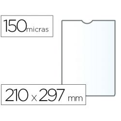 FUNDA PORTADOCUMENTO Q-CONNECTDIN A4 150 MICRAS PVC TRANSPARENTE CON U¾ERO 210X297 MM