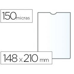 FUNDA PORTADOCUMENTO Q-CONNECTDIN A5 150 MICRAS PVC TRANSPARENTE CON U¾ERO 148X210 MM