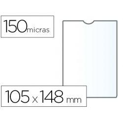 FUNDA PORTACARNET Q-CONNECT DIN A6 150 MICRAS PVC TRANSPARENTE CON U¾ERO 105X148 MM
